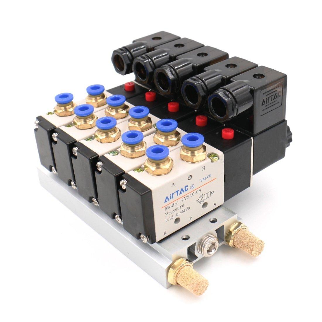 Baomain Pneumatic Solenoid Valve 4V210-08 AC 110V PT1//4 5 Way 2 Position Base Quick Fittings Muffler Set