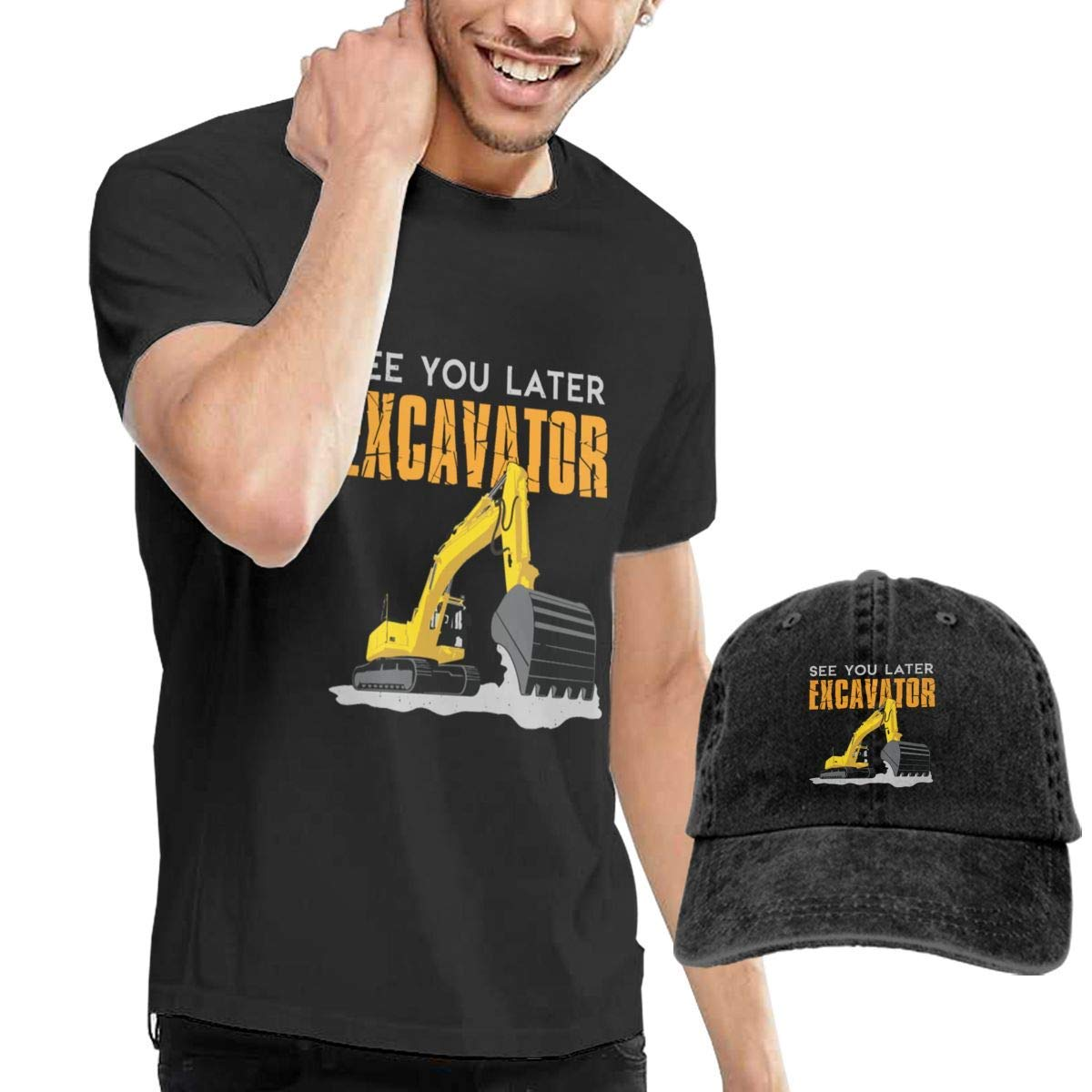 QQWBB See You Later Excavator T Shirt Short Sleeve Denim Hat Men