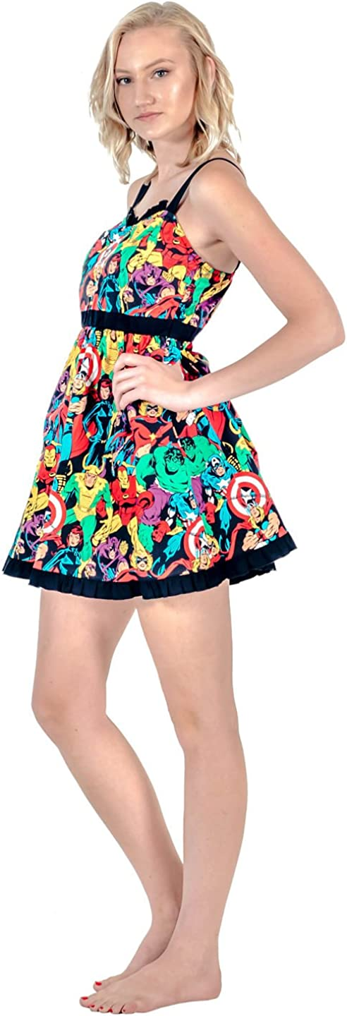 Adult Women/'s Marvel Super Heroes All Over Sweetheart Dress