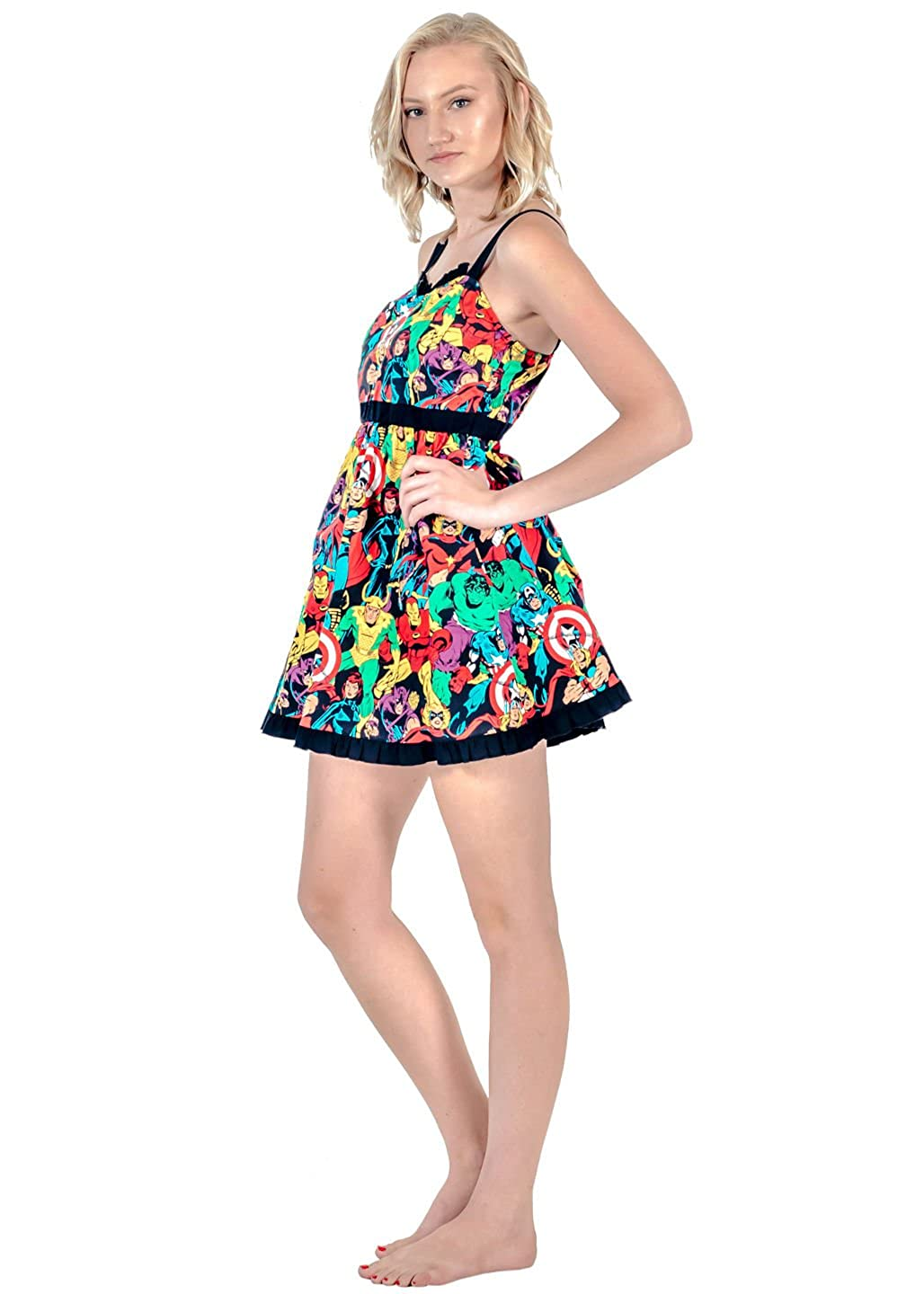 Mighty Fine Marvel Super Heroes All Over Sweetheart Dress