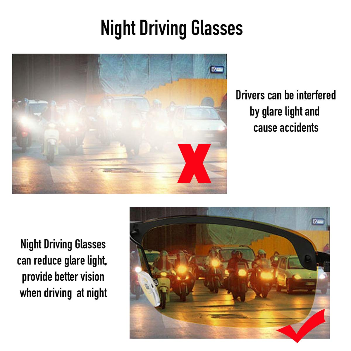 O-LET Night Vision Driving Glasses Anti Glare for Men Women Outdoor Activities Polarized HD Yellow Tinted Sunglasses with Cloth//Strap//Ear Hooks