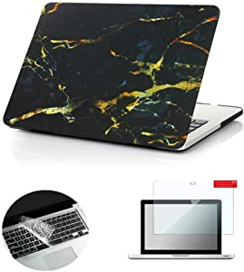 Se7enline Old MacBook Pro 13 inch Case 2009-2012 Plastic Hard Shell Case for MacBook Pro 13-inch with CD-ROM Model A1278 with Keyboard Cover, Screen Protector,Black/Gold Marble