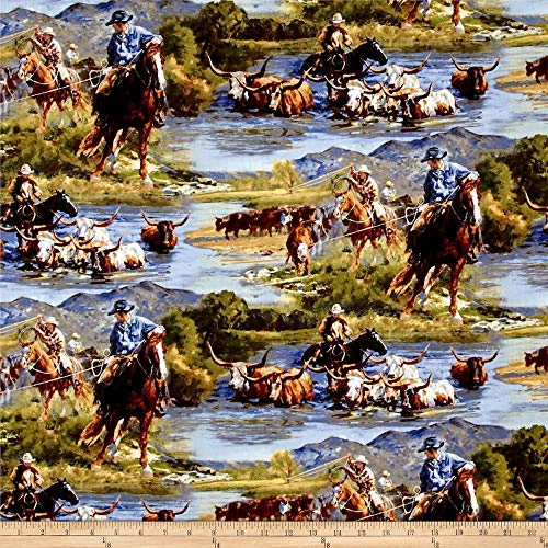 - Wild Wings Scenics Ranchero Horse Riding 100% Cotton Fabric by The Yard