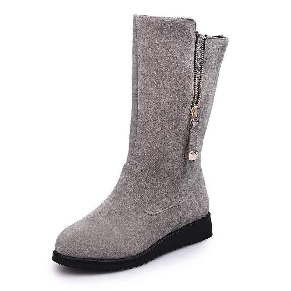 HhGold Stiefel Damen Schuhe Damenstiefel Schnalle Damen Faux Warm Bling Knight Stiefel Flache Martin Stiefel Elegant Keilabsatz Reißverschluss (Farbe   Grau, Größe   CN 43=EU 44)