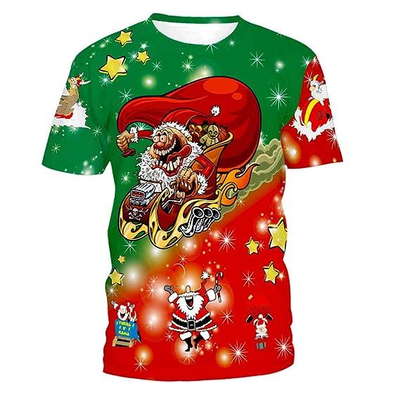 Sunnyuk Mens Casual Humor de Navidad Impresión 3D Traje de Navidad Camiseta Divertida Camiseta de Navidad: Amazon.es: Ropa y accesorios