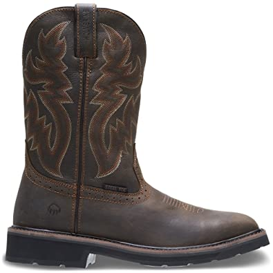 "311cc8924cf38 Wolverine Men's Rancher 10"" Square Steel Toe Work Boot, Dark Brown /Rust,"