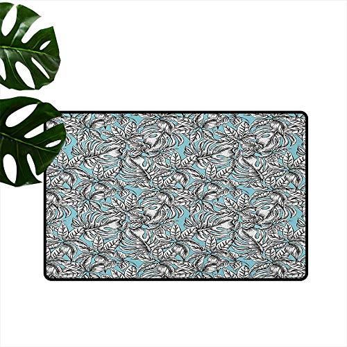 RenteriaDecor Leaf,Anti-Slip Doormat Monochrome Foliage on Pale Blue Color Vintage Exotic Jungle Botany Pattern 36