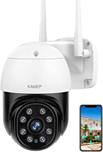 Security Camera Outdoor ,【2021 Upgrade】 KAMEP HD 1080P WiFi Cameras for Home Security Camera System with 360° Color View 2-Way Audio Motion Detection IR ,IP66 Waterproof Work with Alexa