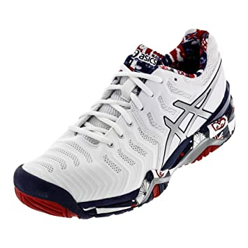 49895dfccdef ASICS E715Y-0193F17 Men`s Gel-Resolution 7 Limited Edition London Tennis  Shoes White and Indigo Blue  Amazon.ca  Sports   Outdoors