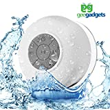 Portable Bluetooth Shower Speaker with Suction Cup – Waterproof, Built in Mic, Universal Phone & Tablet Compatibility – 5 Color Choices – by Gee Gadgets (White)