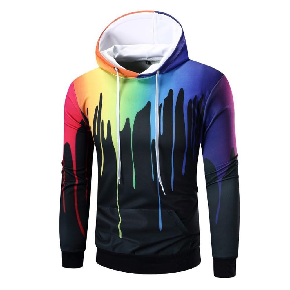 VIASA_ Men Tall Dress Shirts, Hooded Sweatshirt Tops, Digital Print Coat Hoodie Blouse (Black, 2XL)