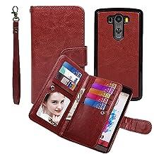 Wallet Case for LG G3, xhorizon TM SR Premium Leather Folio Case Wallet Magnetic Detachable Purse Multiple Card Slots Case Cover for LG G3 - Coffee