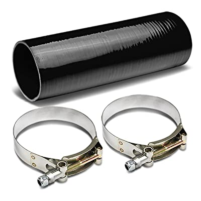 3.5 to 3.5 inches 12 inches Long Straight 4-Ply Turbo/Intake/Intercooler Piping Silicone Coupler Hose+T-Clamp (Black): Automotive