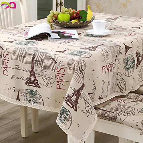 Mosichi Cotton Linen Paris Eiffel Tower Pattern Rectangle Tablecloth - 60cm x 60cm/23.62