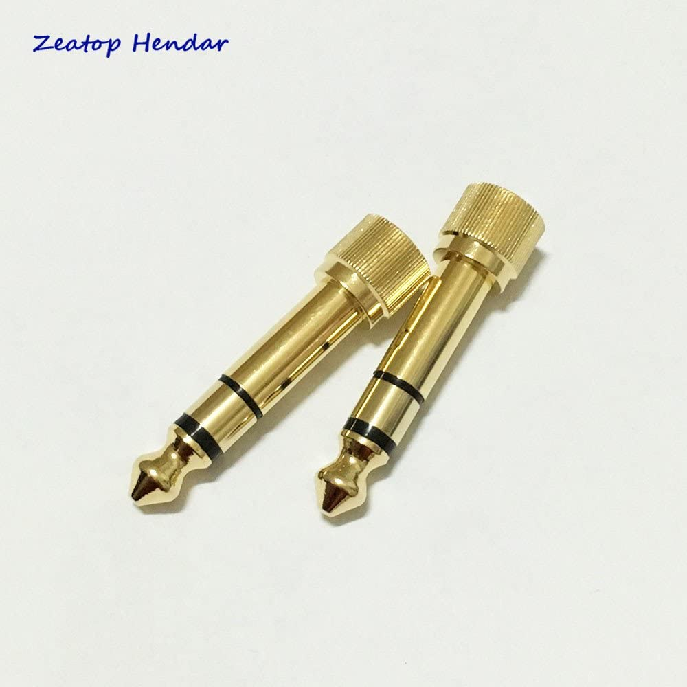 100pcs Gold 1//4 6.35mm Male to 3.5mm Female Plug Stereo Audio Headphone Screw Connector