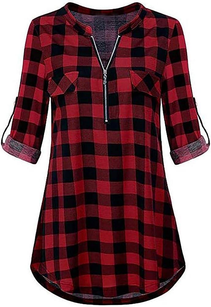 Vectry Blusas De Mujer Camisetas Mujer Verano Blusa con Escote Camisa Cuadro Blusa Cuadros Mujer Camisetas Larga Chica Camisetas Mujer Primavera Blusa: Amazon.es: Ropa y accesorios