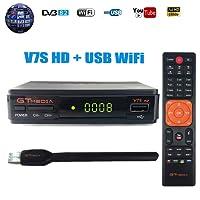 GTMEDIA V7S HD DVB-S2 Decodificador Satélite FTA Digital Receptor de TV por satélite 1080p Full HD Decoder Medidor Parabólica de TV Soporte Cccam, Youtube, PowerVu, Newcam, Youporn, Dre y Biss Clave con USB WiFi Antena