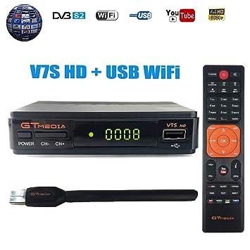 GTMEDIA V7S HD DVB-S2 Decodificador Satélite FTA Digital Receptor de TV por satélite 1080p Full HD Decoder Medidor Parabólica de TV Soporte Cccam, ...