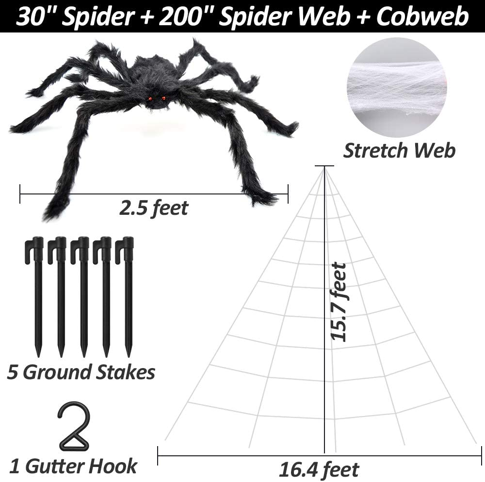 Amazon.com: Halloween Spider Web, 2 piezas (200