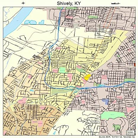 Amazon.com: Large Street & Road Map of Shively, Kentucky KY ...