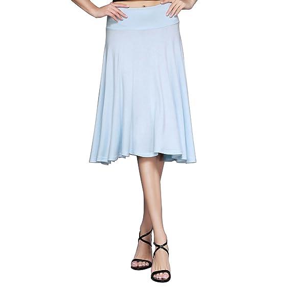HIKA Women's Solid Elastic Waist Flared Midi Skirt (Medium, Baby blue)