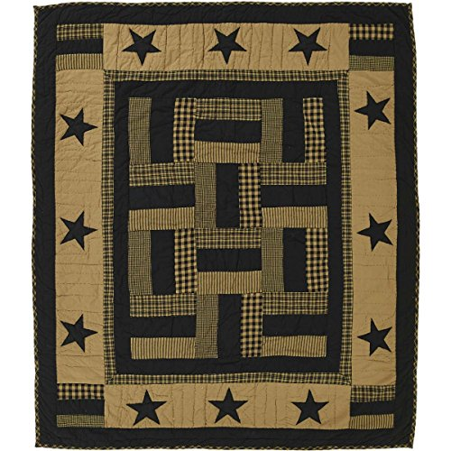 Lap Quilts Quilted Wall Hangings - VHC Brands Classic Country Primitive Pillows & Throws - Delaware Black Throw