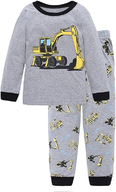 Hooyi Baby Boy Sleepwear Cotton Children Casual Pajamas Set Airplane Car