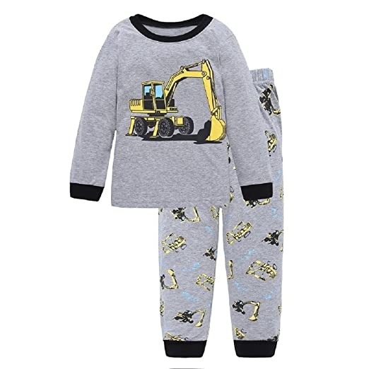 9b212d193758 Amazon.com  Hooyi Digger Boys Sleepwear Cotton Children Vehicle ...