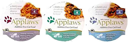 Applaws Additive Free 100 Natural Food For Cats 3 Flavor Variety 6 Can Bundle 2 Applaws Tender Chicken Breast With Tuna Roe In Broth, 2 Applaws Tasty Sardine With Mackerel In Broth, and 2 Applaws Tasty Tuna Fillet With Prawn In Broth, 2.12 Oz. Ea. 6 Cans Total