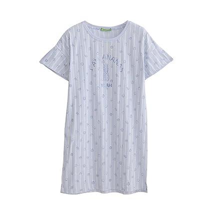 Pijamas ZHAOJING Nuevo Verano de Manga Corta algodón de Las Faldas de Las Mangas Cortas de