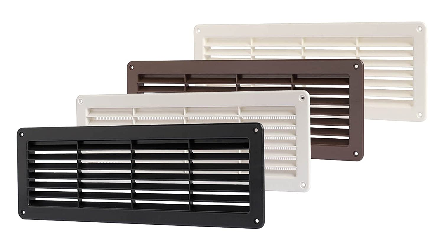 FLUSH FITTING RECTANGULAR PLASTIC AIR VENT WITH INSECT / MOSQUITO NET 370mm x 130mm x 20mm available in WHITE BROWN BLACK Suitable for internal an external use. (Black) VecamCo