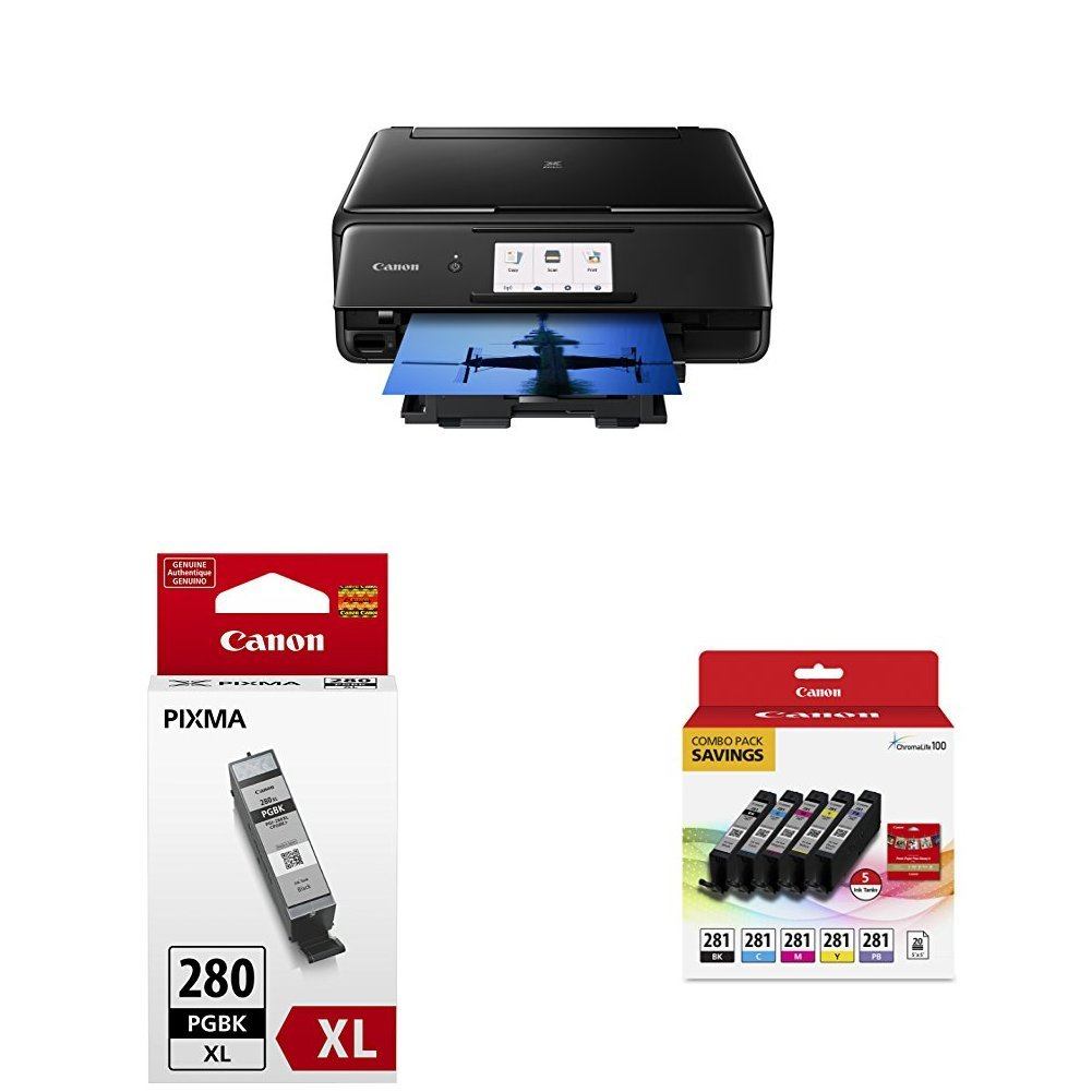Canon TS8120 Wireless AIO Printer, Black with PGI-280XL and CLI-281 Combo Pack