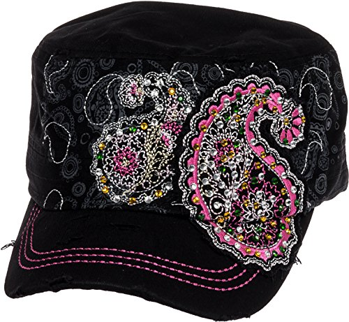 Crystal Case Womens Cotton Rhinestone Paisley Cadet Cap Hat (Black)