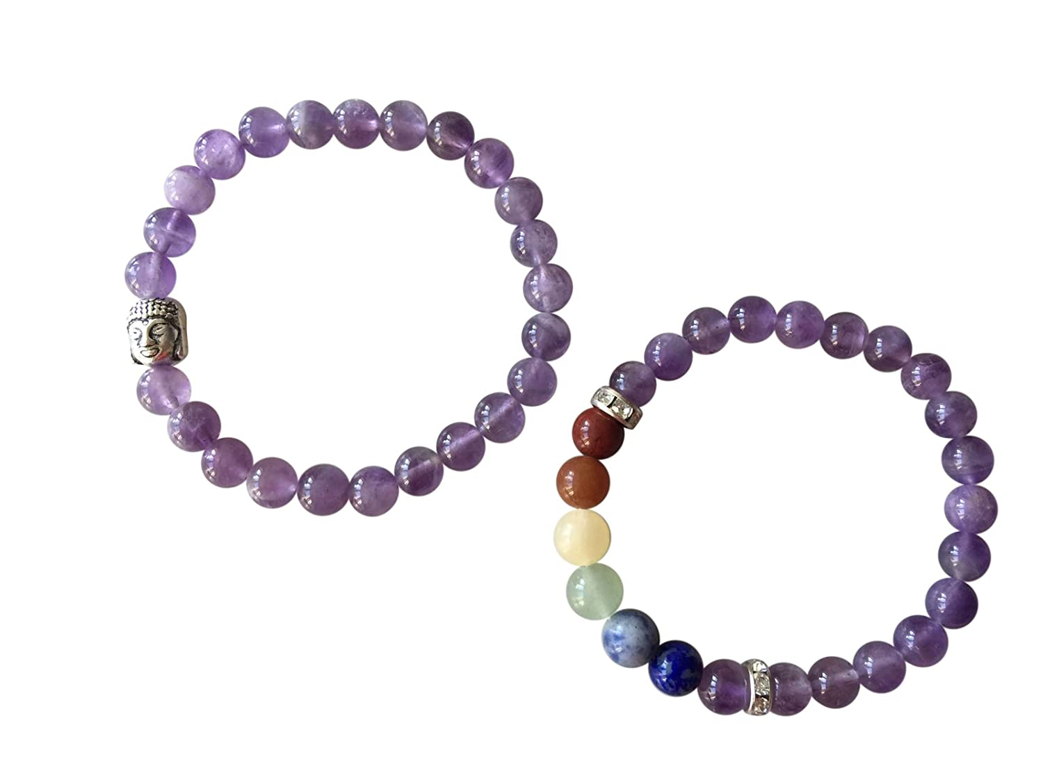 'Corpo mente e anima' Genuine Amethyst Gemstone chakra perlina, Buddha ~ ~ pietre naturali eticamente da colline dell' India occidentale gioielli fatti a mano, in confezione regalo corpo e anima prodotto in modo etico con ametista gioiello realizzato a man