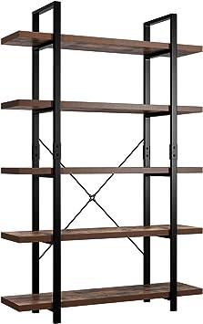 5-Tier Bookcase Bookshelf Leaning Wall Shelf Shelving Organizer Storage Display!