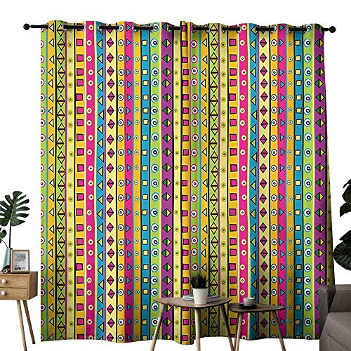 (Retro Blackout Curtain Colorful Striped Abstract Pattern Triangles Squares and Kaleidoscope Fun Shapes Art Print Wedding Party Home Window Decoration W96 xL72 Multi)