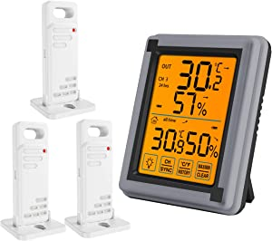 ORIA 3 Wireless Sensor Digital Hygrometer, Indoor Outdoor Thermometer Humidity with Touchscreen and Backlight, Temperature Humidity Monitor, Min and Max Records for Home, Office, Greenhouse