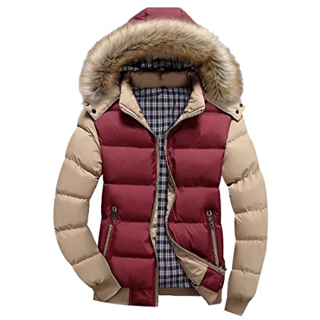 Amazon.com : Fashion Mens Fur Collar Hoodied Warm Zipper Puffer Patchwork Down Jackets and Coats (Size:M, Yellow) : Beauty