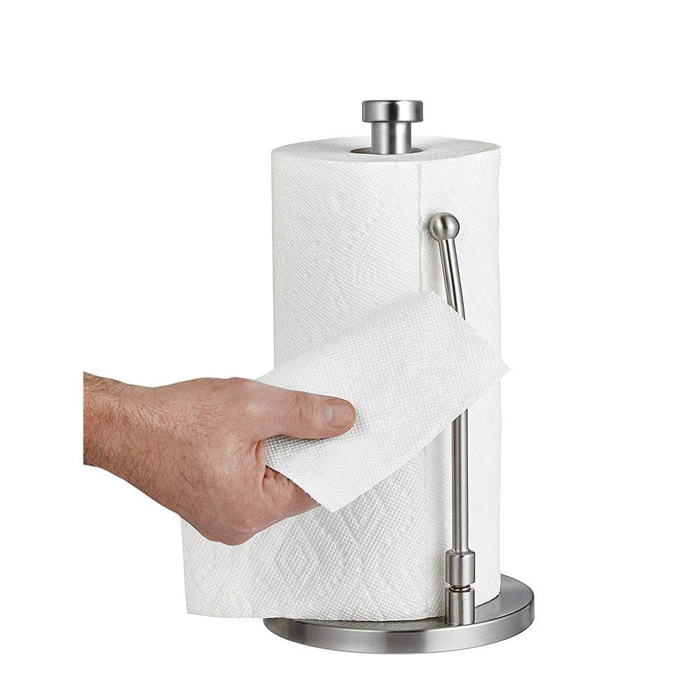 Paper Towel Holders by Oranlife Stainless Steel Vertical Kitchen Tissue Holder Counter Top for Kitchen Dining Room Bathroom