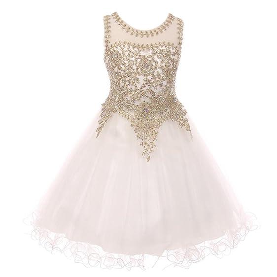 Amazon cinderella couture little girls white gold coiled lace little girls white gold coiled lace studded illusion flower girl dress 4 mightylinksfo