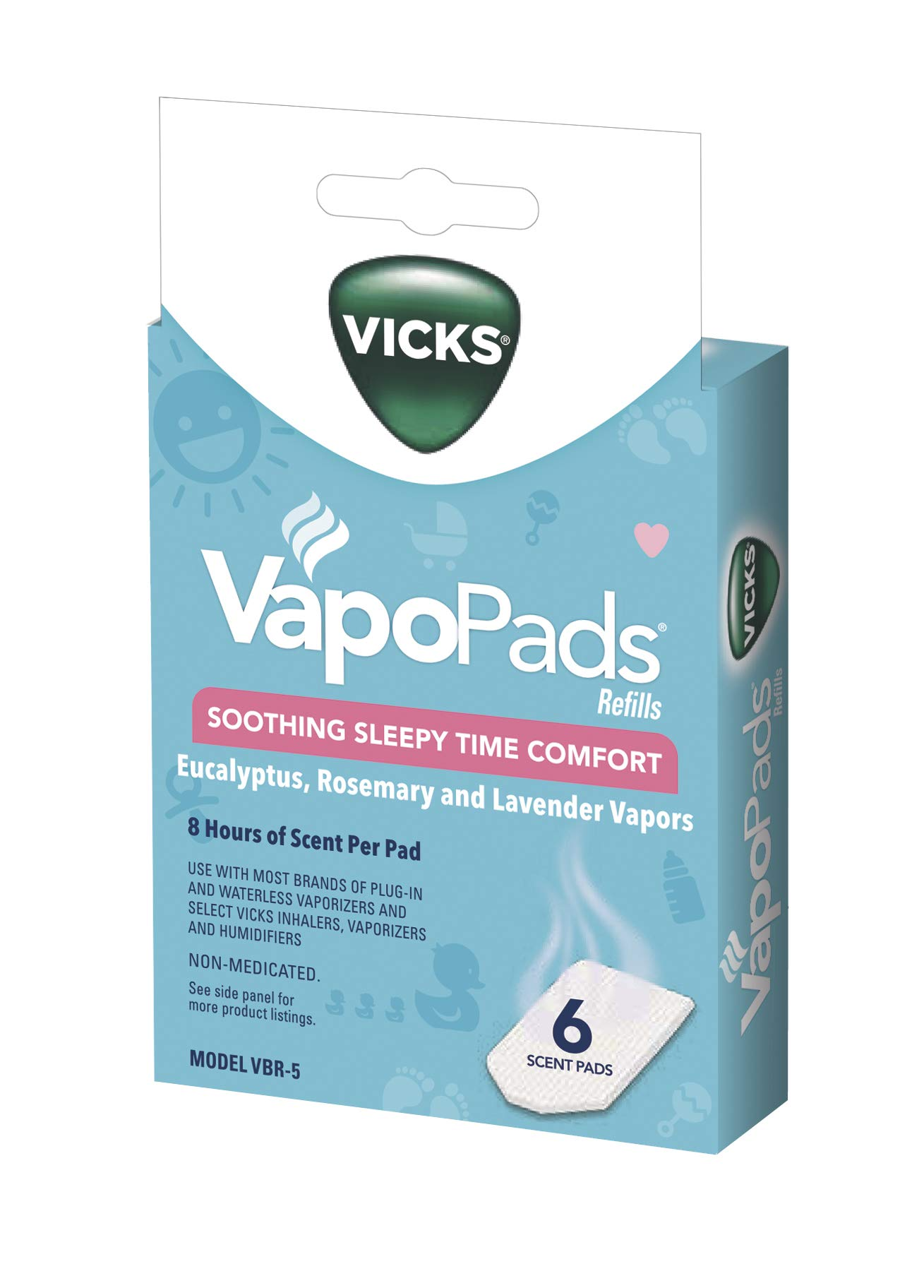 Vicks Sleepytime Waterless Vaporizer Scent Pads Rosemary, Lavender and Eucalyptus Scented Vapor Pad Refills