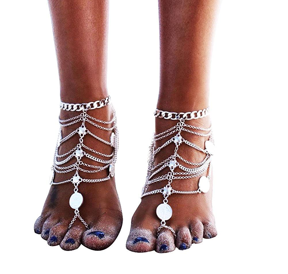 Zhenhui 1 Pair Boho Vintage Silver Tone Gold Tone Coin Blessing Symbol Tassel Indian Anklets Foot Jewelry 2 Pcs