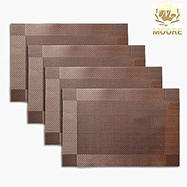 Non-slip Insulation Placemat,Moor Crossweave Woven Vinyl Non-slip Insulation Placemat Washable Table Mats Set of 4 (Brown)