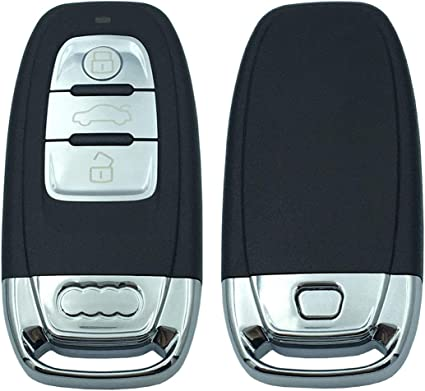 4 Buttons Horande Replacement Keyless Entry Key Fob Case fits for Audi A1 A3 A4 A5 A6 A7 A8 Q5 Q7 R8 S5 S7 Q5 RS Key Shell Fob Cover