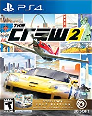 The Crew 2 Gold Edition features: - SteelBook - Season Pass - The Crew 2 Motorsports Deluxe Pack, which includes: - FORD F-150 RAPTOR RACE TRUCK 2017 - ABARTH 500 2008 MONSTER TRUCK EDITION - PILATUS PC-21 - Three outfits to customize your av...