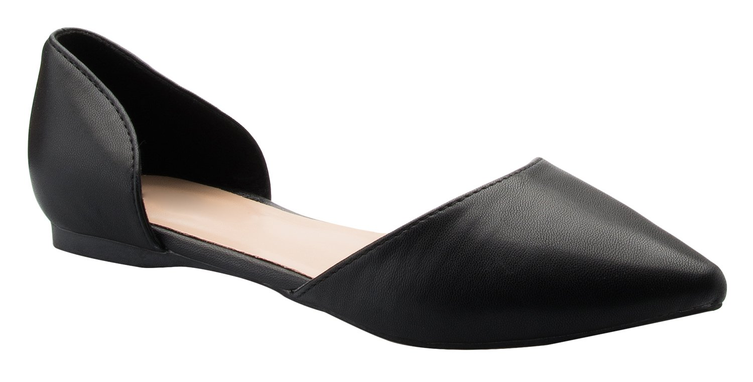 OLIVIA K Women's D'Orsay Pointed Toe Fashion Ballet Flat