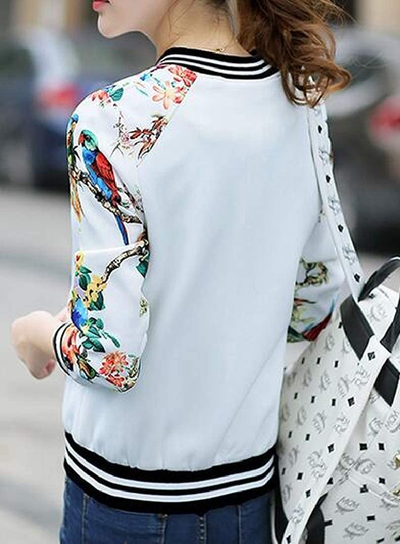 Fubotevic Womens Slim Fit Zip Front Casual Flower Print Baseball Jacket Bomber Coat Outwear