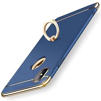 【タイムセール】KYOKA iPhone X ケース リング付き 衝撃防止 スタンド機能 3パーツ式 アイフォンXケース 高級感 薄型 携帯カバー (ブルー)