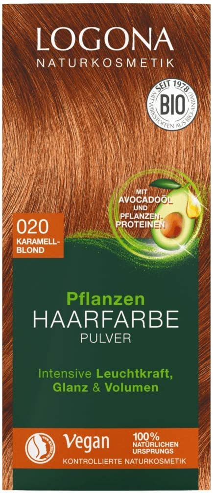 LOGONA Naturkosmetik - Tinte para el cabello en polvo 020, rubio caramelo, con aceite de aguacate, vegano y natural, rubio natural, coloración natural ...