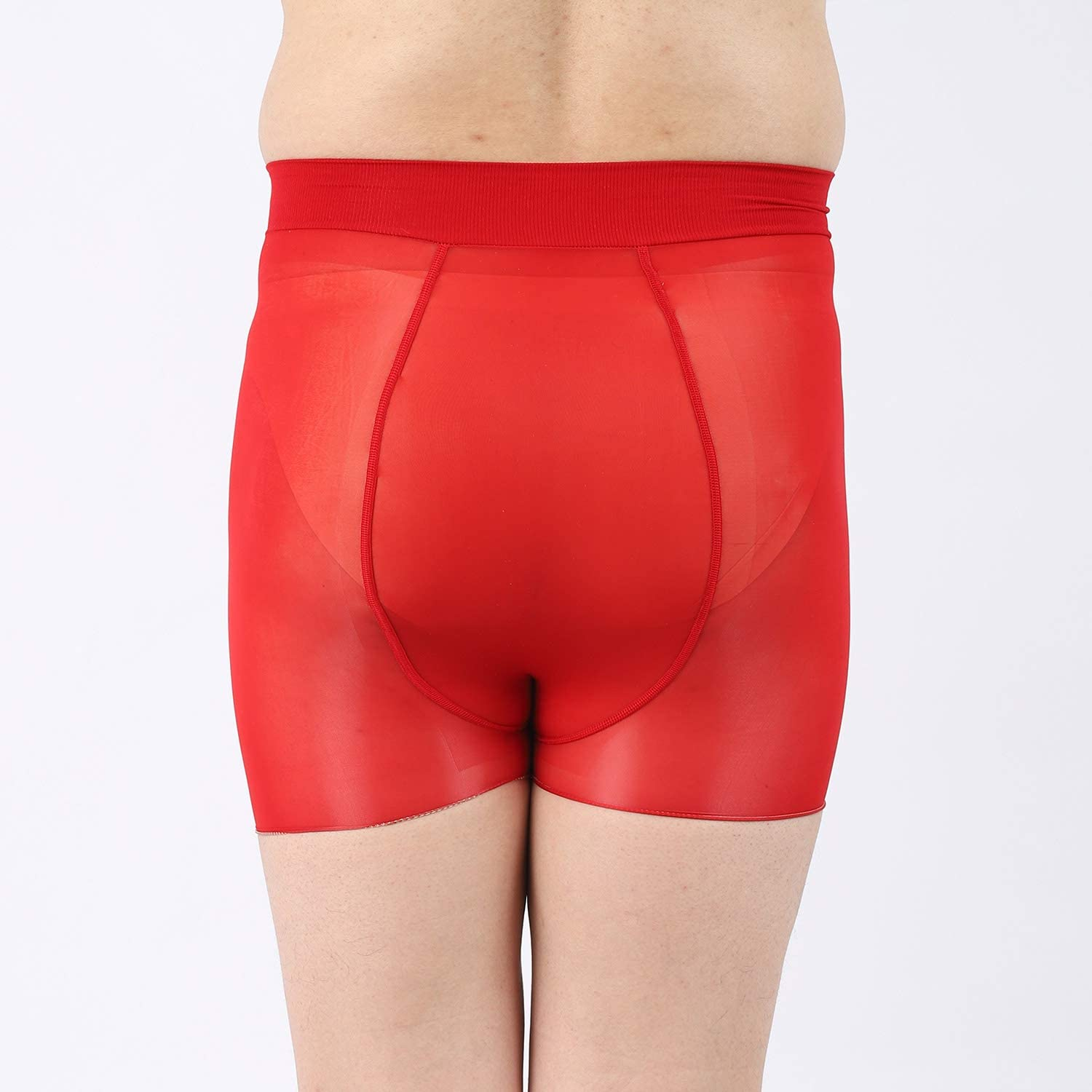 ElsaYX Men's Shiny Glossy Pantyhose Boxer Trunks Underwear with Pouch
